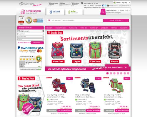 Schulranzen Onlineshop Screenshot