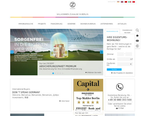 Ziegert Immobilien Screenshot