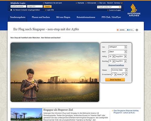 Singapore Airlines Screenshot