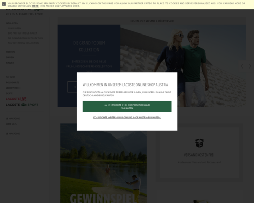 Lacoste.at Screenshot