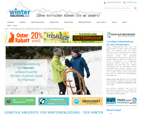 Winterbekleidung.com Screenshot