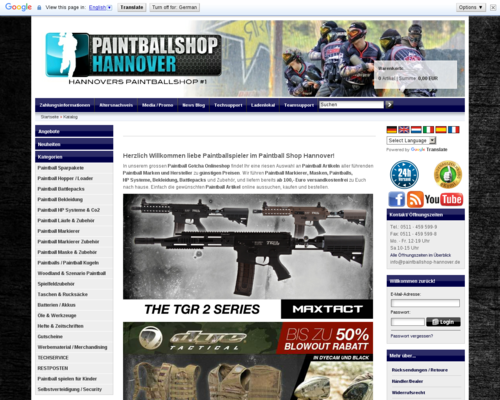 Paintballshop Hannover Screenshot
