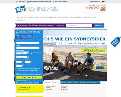 STA Travel Screenshot