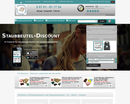 Staubbeutel Discount Screenshot