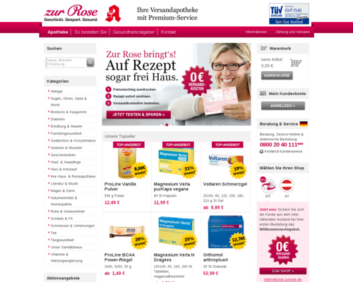 Zur Rose Versandapotheke Screenshot