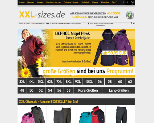 XXL Sizes Screenshot