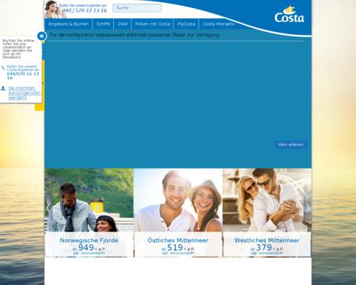 Costa Kreuzfahrten Screenshot