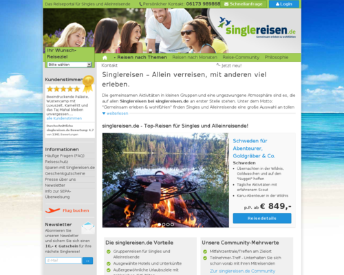 Singlereisen.de Screenshot