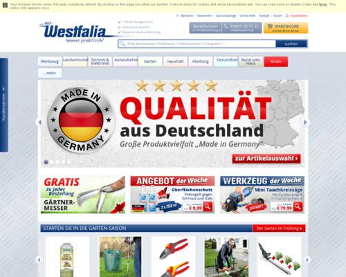Westfalia-versand.at Screenshot