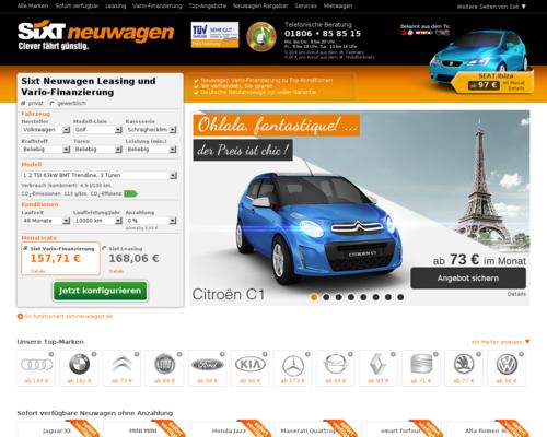 Sixt Neuwagen Screenshot
