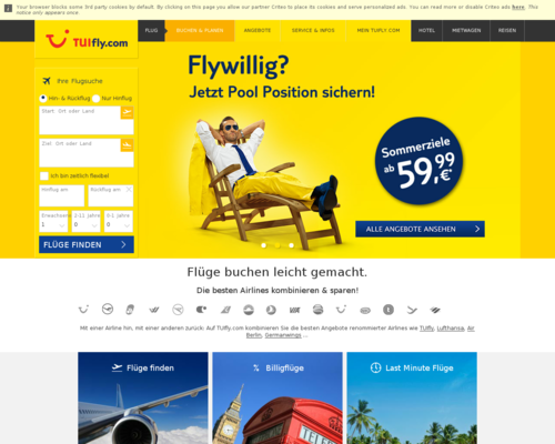 TUIfly.com Screenshot