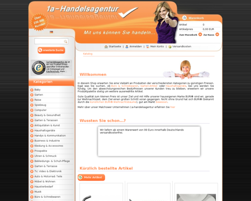 1a-Handelsagentur Screenshot