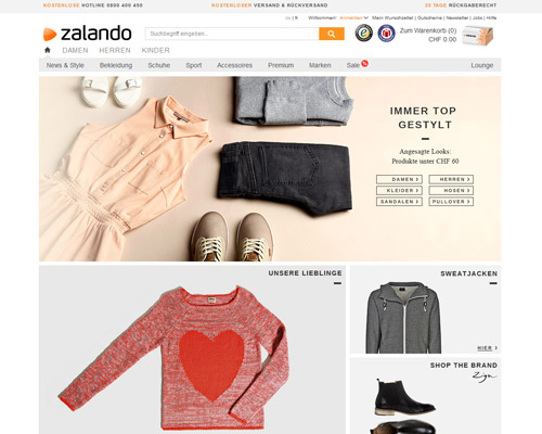 Zalando Schweiz Screenshot